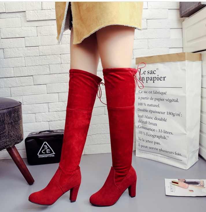 Sonbahar kadın Yüksek Çizmeler Ayakkabı Moda Kadınlar Diz Çizmeler Üzerinde Yeni Sonbahar Kış Akın Botas classicThigh Yüksek Çizmeler bayanlar