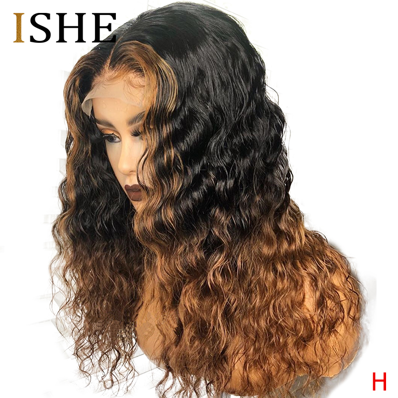 Ombre Colored Human Hair Wigs 180% Density 13x6 Curly Lace Front Human Hair Wigs Pre Plucked Lace Wig For Women Black Remy Hair