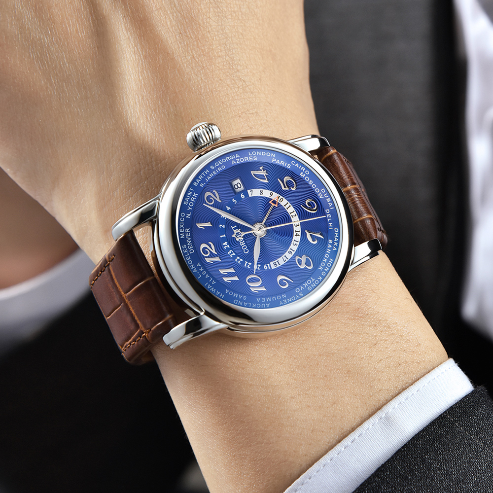 Corgeut Luxury Brand Mechanical Watch Fashion Leather Top Dual time zone GMT Automatic Men Watch Leather Mechanical Wrist Watch