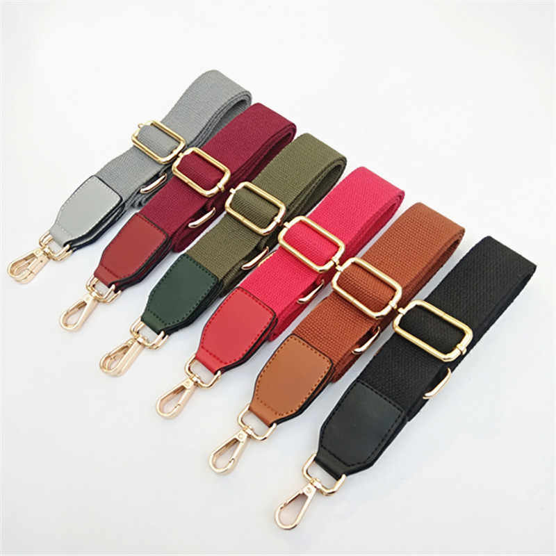 HJKL  pure color cotton woven belt with pu leather long shoulder belt adjustable single-shoulder slant shoulder bag accessories