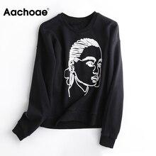 Print Sweatshirt Ladies Hoodie O-Neck Tops Loose Pullover Long-Sleeve Character Female