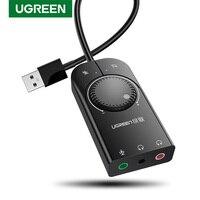 Ugreen-tarjeta de sonido USB, interfaz de Audio externa, adaptador de conector de micrófono de 3,5mm para portátil, Windows, Mac, PS4, Linux, auriculares, tarjeta de sonido