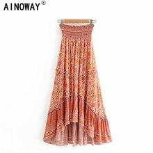 Vintage chic kobiety Hippie kwiatowy print plaża czeski plisowana spódnica wysoka elastyczna talia ruffles Maxi linia spódnica w stylu Boho Femme