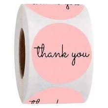 500 pces obrigado você etiquetas de papel rosa scrapbooking para o presente de casamento negócio embalagem selo etiquetas de papelaria adesivos