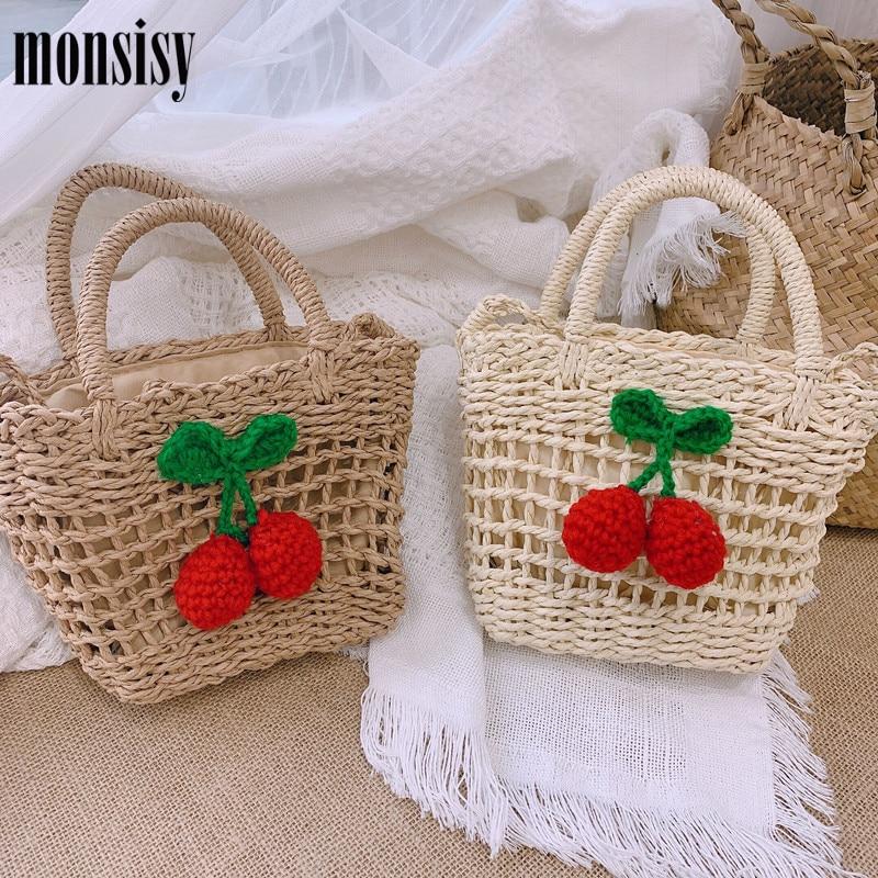 Monsisy Beach Bag For Women 2020 Straw Rattan Bag Handmade Woven Cherry Handbag Ladies Small Basket Tote Girl Child Travel Bag