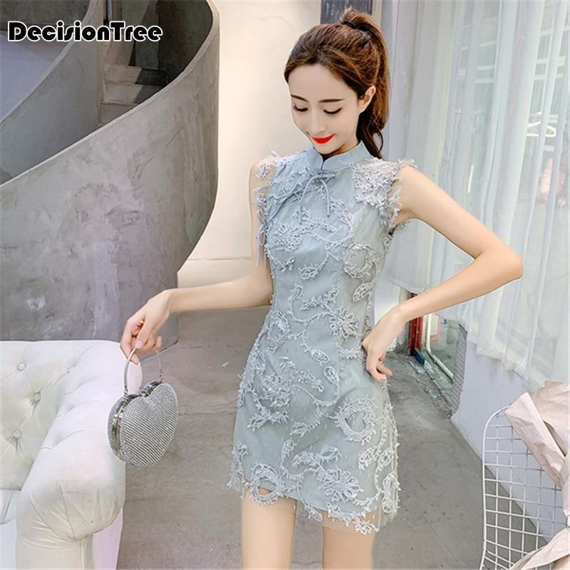 2020 Mandarin Collar Women Dress Chinese Classic Lace Embroidery Cheongsam Sleeveless Elegant Qipao Short Party Qipao