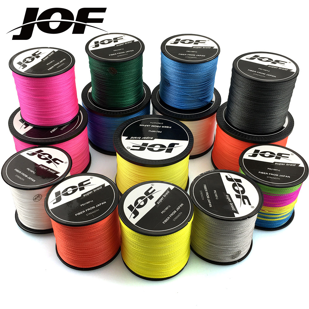 JOF PE Braided Fishing Line 500M 300M 100M 4 Strands Multifilament Fishing Line Carp Fishing Wire 10-120LB