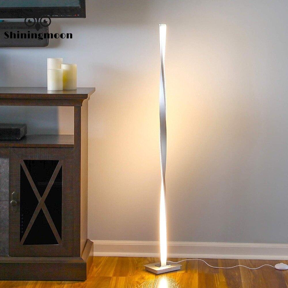 Nowoczesna lampa led podłogowa Nordic Aluminium biura dekoracyjne oświetlenie podłogowe lampy stojące do salonu Chrome drewniane światło podłogowe