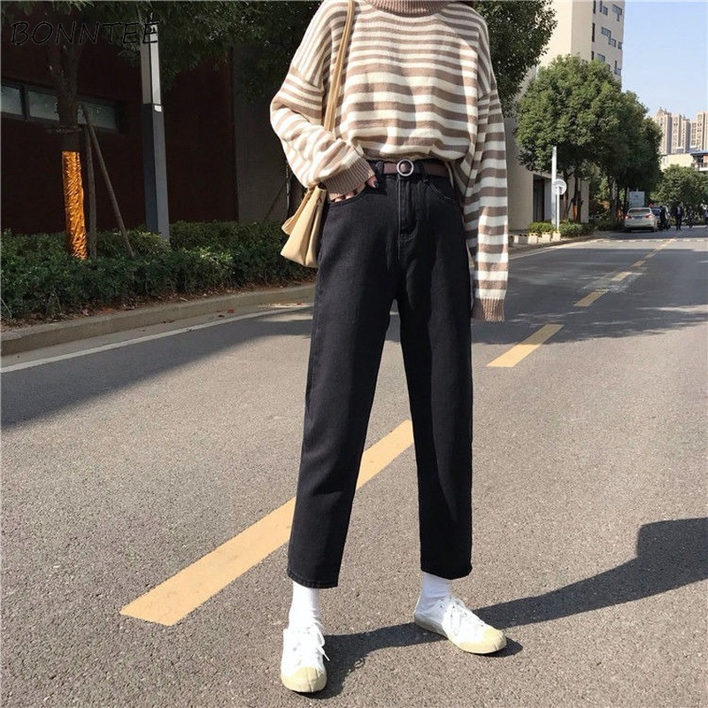 Jeans Women Straight Loose 2XL All-match Casual Pockets High Waist Vintage Simple Students BF Harajuku Womens Trousers Ulzzang