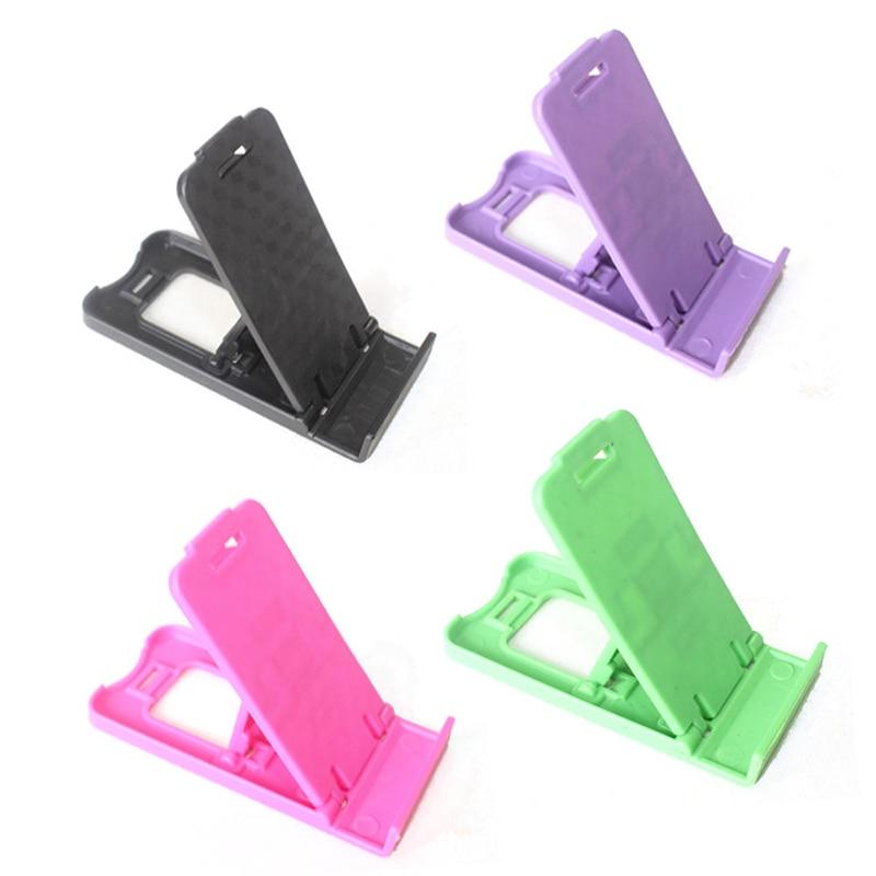 1pc Universal Colorful PT Plastic Adjustable Folding Smart Phone Holder Seat Universal Mini Folding Desk Stand Holder Cradle