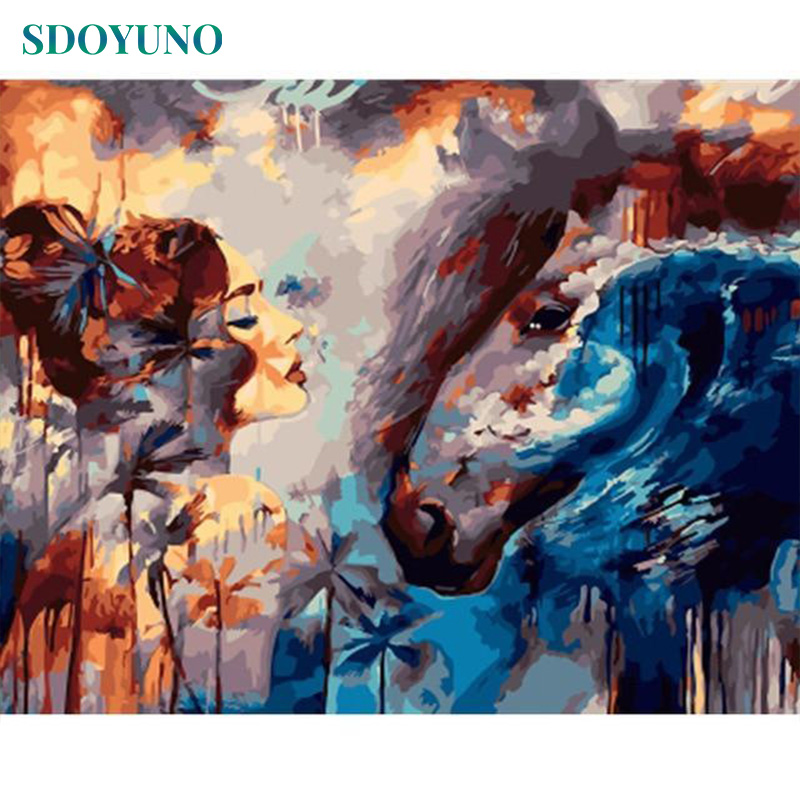 SDOYUNO Oil Painting By Numbers Women And Horse DIY Wall Pictures For Living Room Frameless 60x75cm Digital Painting