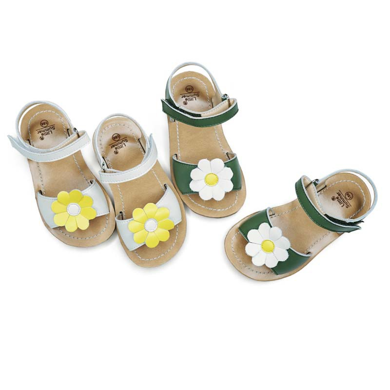 Genuine Leather Girls Sandals Salt Water Kids Shoes Flowers Baby Princess Shoes High Quality Children's Sandals 6T