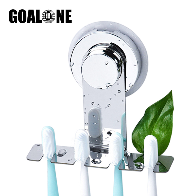 GOALONE Stainless Steel Toothbrush Holder Wall Mounted Suction Cup Toothbrush Mirror Holder Reusable Bathroom Shower Accessories image