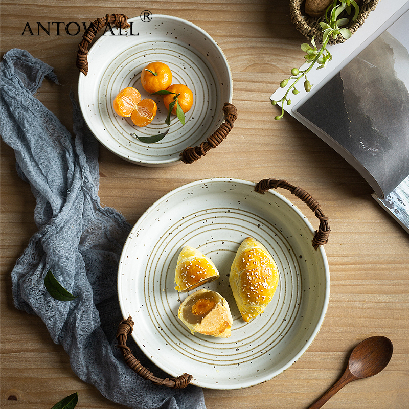 ANTOWALL assiette rétro avec poignée | Vaisselle en porcelaine, plateau à fruits