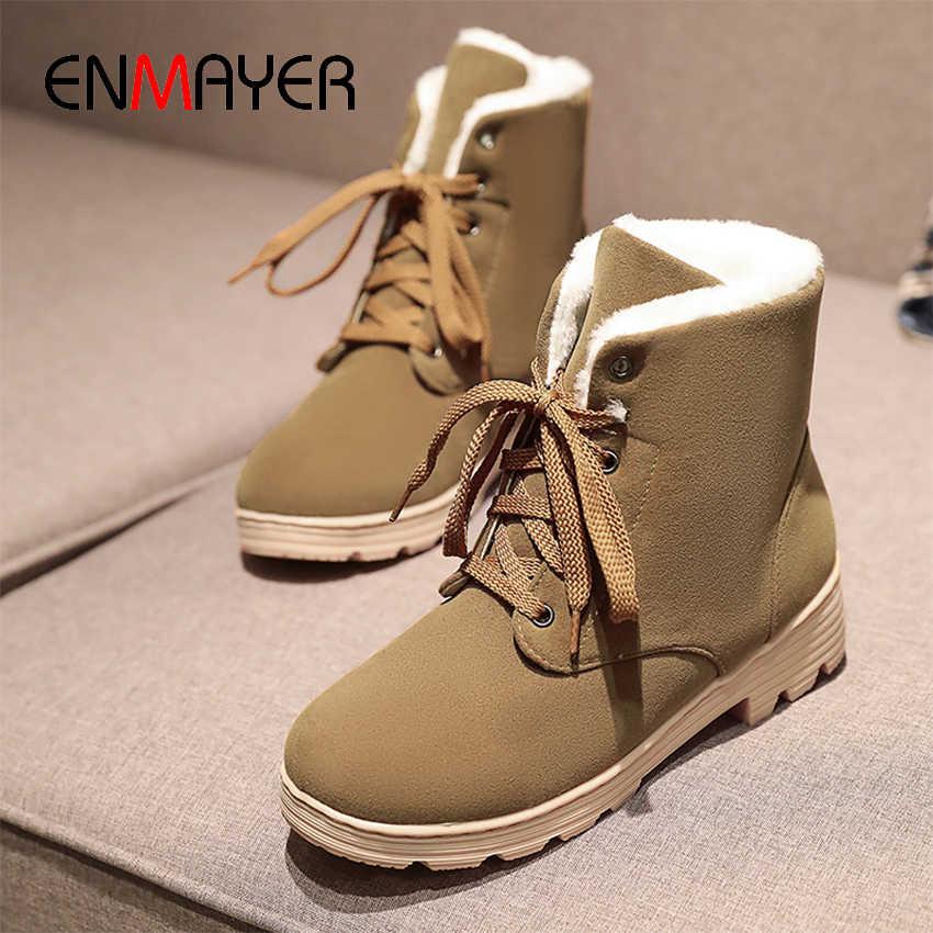 ENMAYER LACE-Up วัวข้อเท้าหิมะรองเท้าบูทรอบ Toe ความสูง MED เด็กรองเท้า Plush cross-tied แพลตฟอร์ม