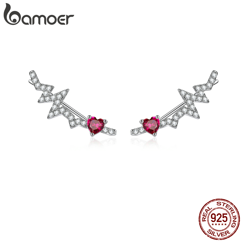 bamoer Authentic 925 Sterling Silver Long Stud Earrings for Women Pink CZ Heartbeat Luxury Wedding Statement Jewelry SCE819(China)