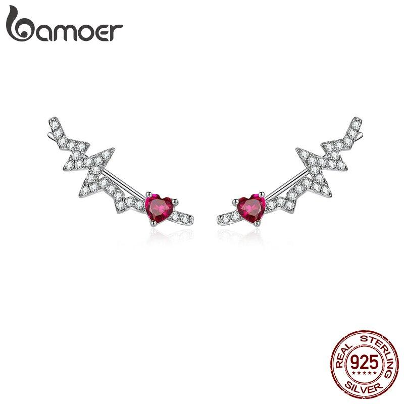 Bamoer Authentic 925 Sterling Silver Long Stud Earrings For Women Pink CZ Heartbeat Luxury Wedding Statement Jewelry SCE819