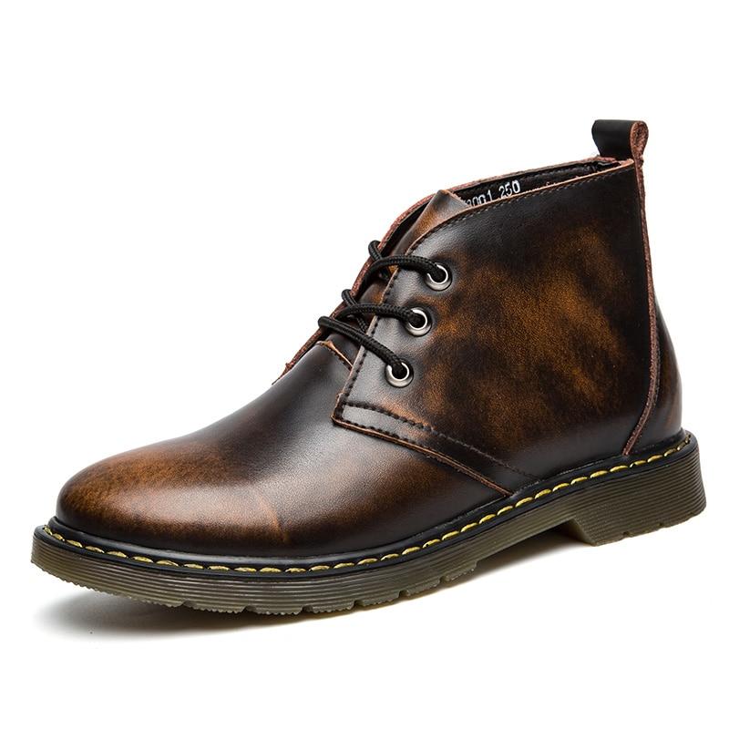 High Quality Leather Boots Men Autumn Shoes Men Boots Non-slip Winter Ankle Boots Men Retro Dr Martens Boots Plus Big Size 47