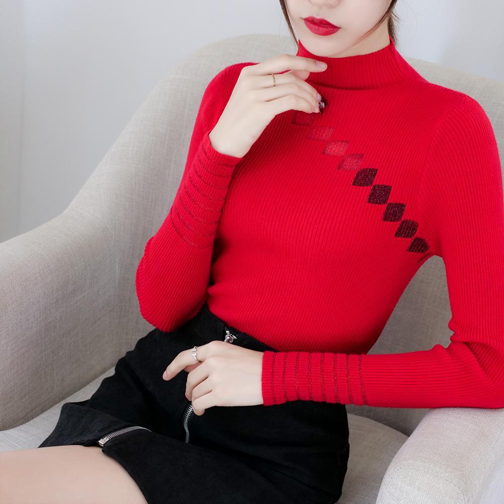 Turtleneck Sweater Womens Autumn Winter Patchwork Tops Korean Slim Women Pullover Jumper Knitted Sweater Pull Femme Hiver Truien