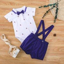 2Pcs Baby Jungen Kleidung Set Infant Kurzarm Fliege Strampler + Strap Overalls Shorts Anzüge Kinder Sommer Freizeit sport Kleiden