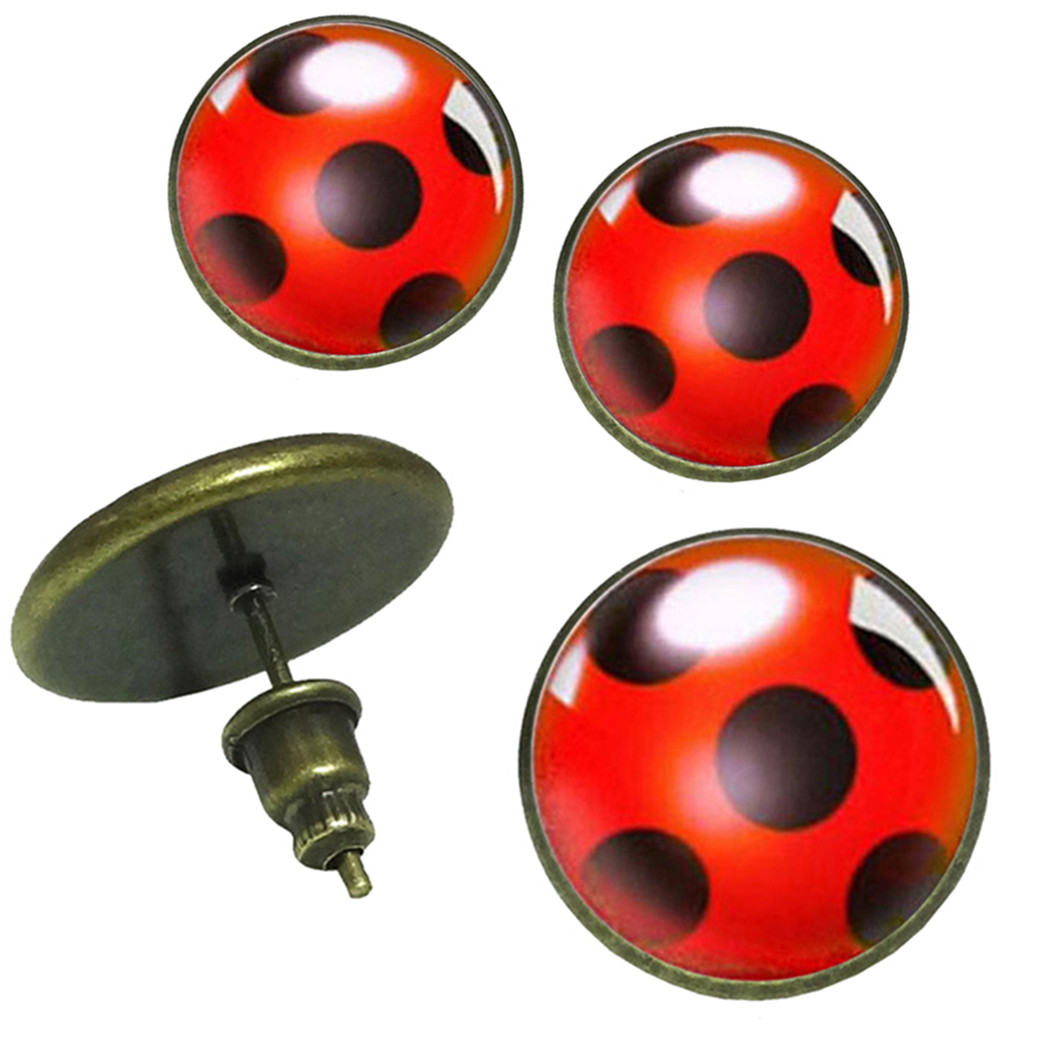 1 Pair Ladybug Stud Earrings Cosplay Lady Bug Circle With Dot  Earrings For Women Girl Party Gift Anime Jewelry