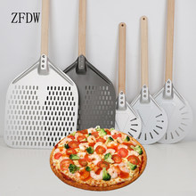 Pizza Shovel Kitchen Tools 7/8/9 Inch Portable Aluminum Peel Wooden Handle Punch Oven Transfer Epidural Anode Nonstick Round Pan
