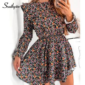 Southpire O-Neck A-Line Black Flower Print Vintage Dress Women Long Sleeve Ruffle Mini Party Dress Casual Daily Clothes Fashion 1
