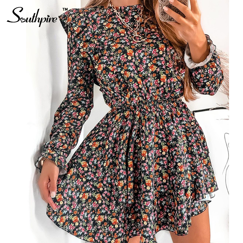 Southpire O Neck A Line Black Flower Print Vintage Dress Women's Long Sleeve Ruffle Mini Summer Dress Casual Daily Party Clothes