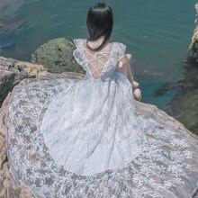 Vestido playero Blanco de encaje con Espalda descubierta, bohemio, con cuello de barco, manga voladora, Vestido largo de Hada, Vestido Blanco playa