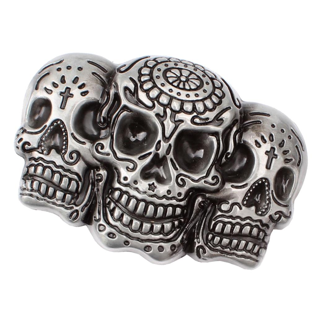 3D Skull Skeleton Head Alloy Silver Biker Motorcycle Metal Belt Buckle DIY Gifts