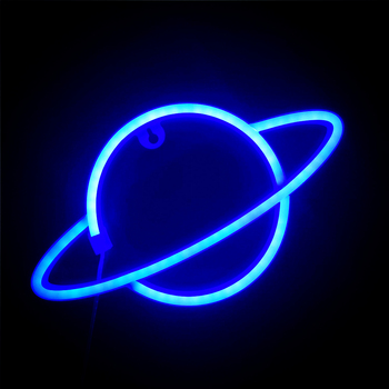 Planet Neon Signs for Wall Decor Neon Light Blue Led Sign for Home Bedroom Kids Room Hotel Shop Bar Art Sign Party Supply Gift недорого
