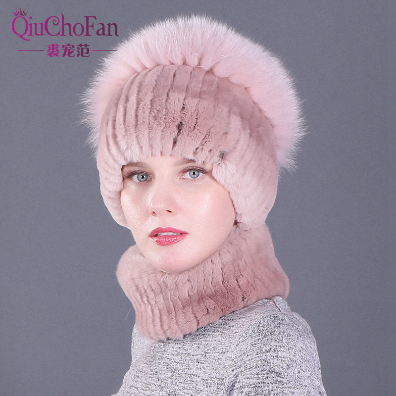 Real Rex Rabbit Fur Set Of Hat And Scarf For Women 2019 New Fashion Winter Real Fox Fur Hair Luxury Brand Hat And Scarf Set