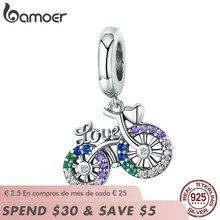 BAMOER – Bracelets et colliers en argent Sterling 925 en cristal pour vélo, adaptés à la forme de bicyclette, Original, cadeau, SCC1082