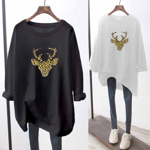 100% Cotton Women's Clothing 2020 Autumn Cartoon Printing Bottoming Loose T-Shirt Ladies Round Neck Long Sleeve Tops