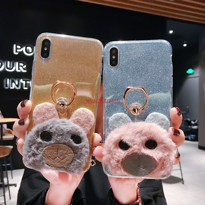 <font><b>Glitter</b></font> <font><b>Case</b></font> For <font><b>Nokia</b></font> 6 2018 X6 6.1 Plus 7 X7 <font><b>7.1</b></font> 8.1 4.2 9 Bear Fur Plush Hair Soft Silicone Cover Ring bracket Phone Holder image