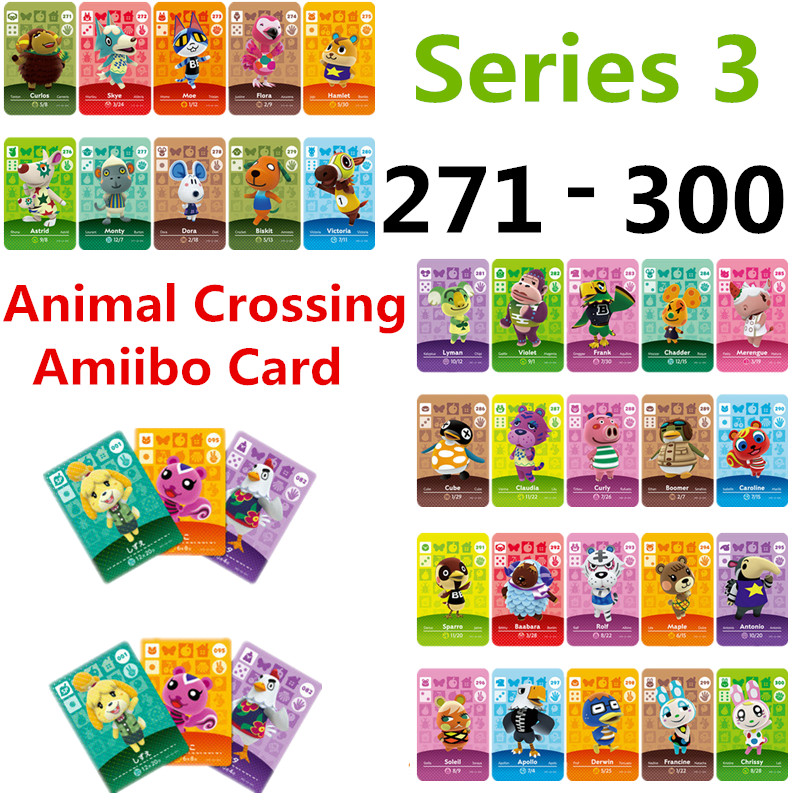 Series 3 (271TO 300) Animal Crossing Card Amiibo Card Work For NS Games NFC Amibo Switch Ankha Welcome Stickers New Horizons