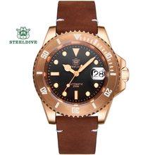 Steeldive sd1953s relógios masculinos automáticos mecânicos Seiko-NH35A relógio abalone bronze safira relógio 300 m mergulhador