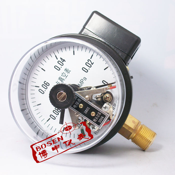 Vacuum Electric Contact Pressure Gauge Magnetic Auxiliary Electric Contact Vacuum Pressure Gauge Yxc-100 -0.1-0mpa