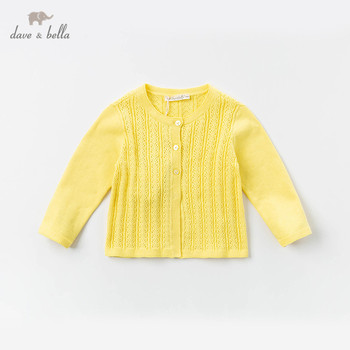 DB12945-2 dave bella spring infant baby girls fashion solid cardigan kids toddler coat children cute knitted sweater image