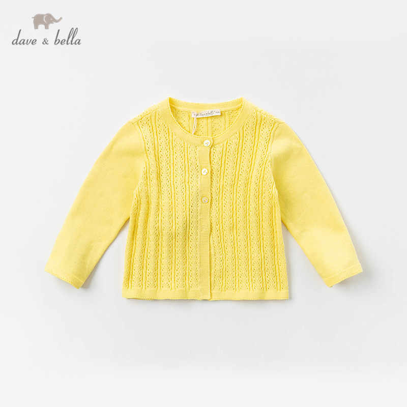 DB12945-2 데이브 벨라 봄 유아 아기 소녀 패션 솔리드 카디건 아이 유아 코트 어린이 귀여운 니트 스웨터