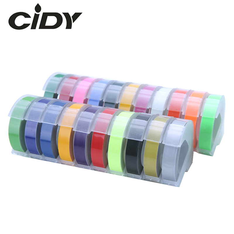 CIDY 2pcs 9MM 6MM 12MM Dymo 3D Plastic Embossing Tape For Embossing Label Maker PVC LABEL DYMO M1011 1610 1595 1540 Motex E101