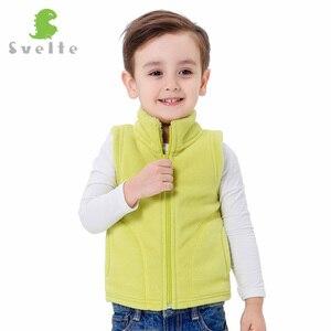 Image 3 - SVELTE/осенне зимняя меховая подкладка для мальчиков и девочек, флисовый жилет, однотонный жилет унисекс на молнии яркого цвета, детский меховой жилет