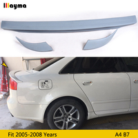 ABT style Pu rear trunk lip For Audi A4 b7 2005 2008 A4 B7 gray primer 3 pcs spoiler wing (not fit sline & s4)