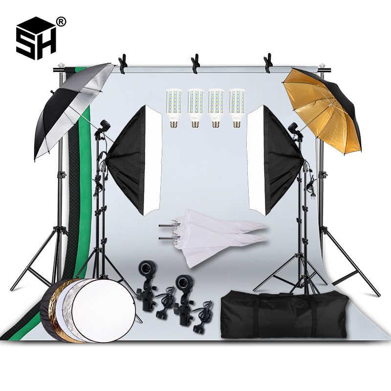 professional photography lighting equipment kit with softbox soft umbrella background stand backdrops light bulbs photo studio