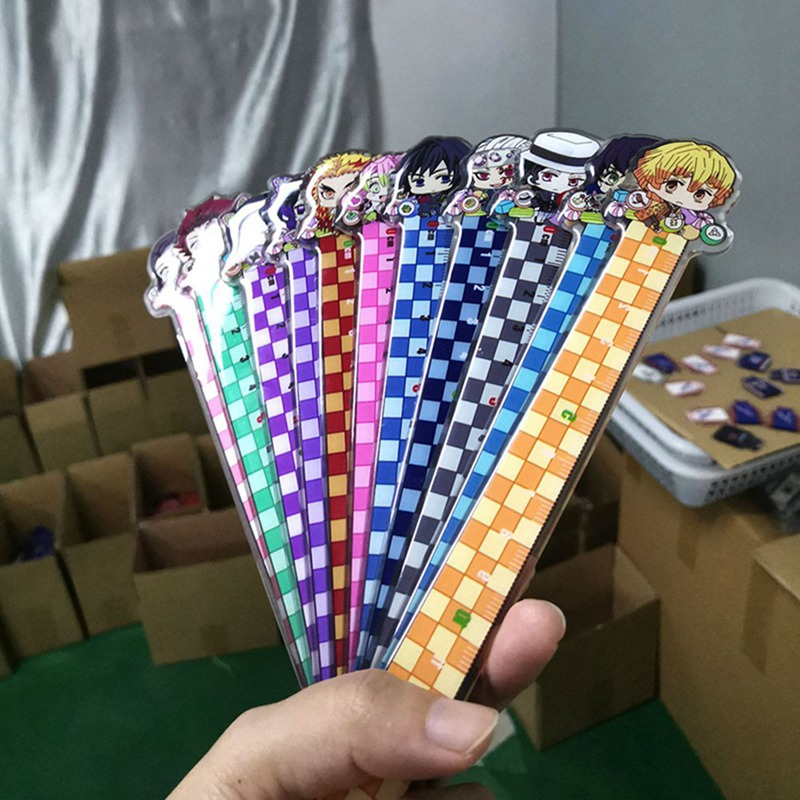 Demon Slayer Kimetsu No Yaiba Kamado Tanjirou Nezuko Zenitsu Inosuke Plastic Material Ruler Office Stationery School Supplies