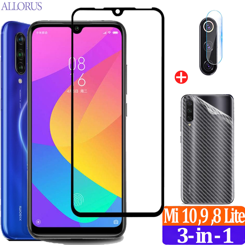 3in1 Glass Kits,Full Cover Phone Protective Film Mi 10 9 Lite Screen Protector Tempered Glass Xiaomi Mi 9 T 8 10 Lite Safe Glass