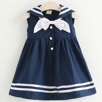New Girls College Dress Summer Sailor Suit Button Decoration Girl Kids Dress Bow Baby Girl Dress 3 5 7 Years Students Clothes
