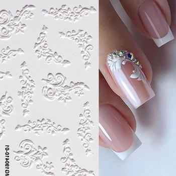 1 arkusz biały w wytłaczane kwiaty koronki 5D naklejka naklejka ślubne wzory paznokci kwiatowy kwiat Transfer naklejka japońska geometria tanie i dobre opinie NICOLE DIARY Jedna jednostka CN (pochodzenie) 6 3cm*7cm 48333 Naklejka naklejka Paper 1 Pc Water Decals
