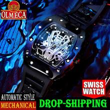 OLMECA Mens Luxury Famous Top Brand Military Army Fashion Sport Automatic Mechanical Dial Style Waterproof Luminous Chronograph