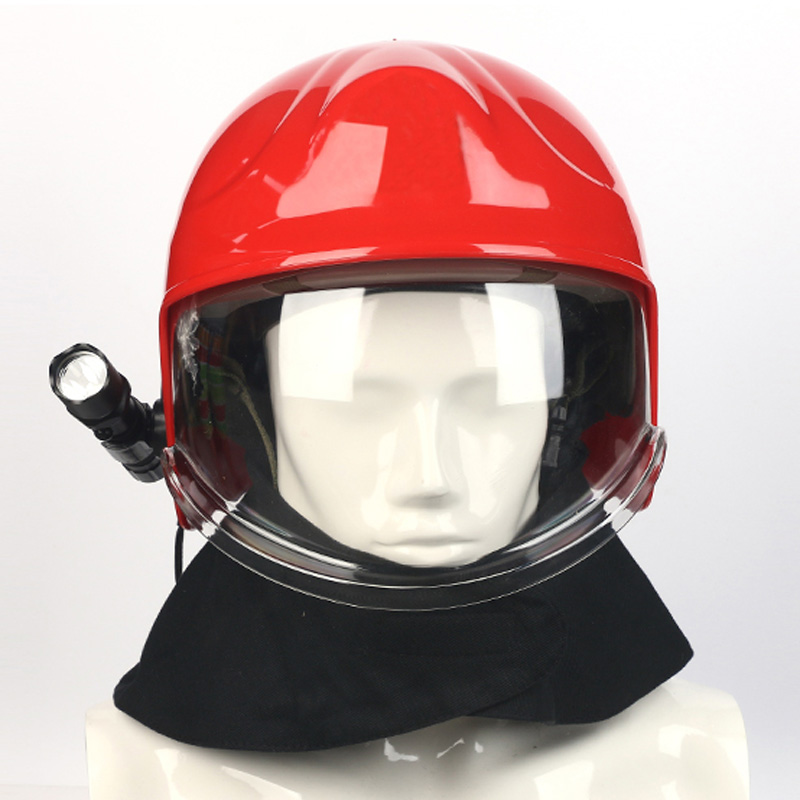 European Forest Fire Insulation Rescue Anti-collision Helmet Face Mask Head-mounted Flashlight Flame Retardant Shawl Safety Helm